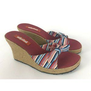 Unlisted Red Striped High Wedge Heels Open Toe Bow
